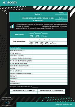 Modèle de procès verbal (PV) de mise en service d'une immobilisation
